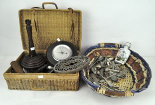 Assorted collectables, to include a barometer, turned wooden table lamp,