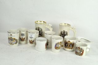 A collection of Royal commemorative ceramics including an Edward VII top hat,