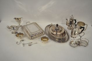 A selection of silver plated wares, to include tray, lidded muffin dish,