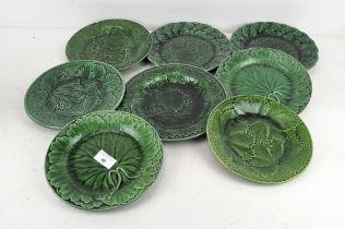 Eight majolica 'Green Leaf' plates,