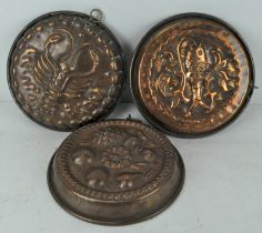 Three Victorian copper moulds, with Fish,