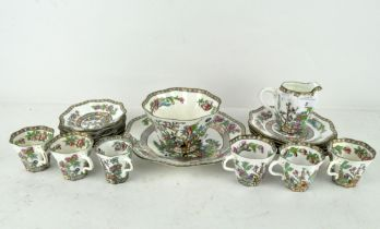 A Coalport Indian Tree pattern six piece tea/coffee service, with fluted edge, including cups,