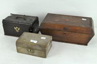 A group of three early 20th century wooden boxes, including a fitted jewellery box,