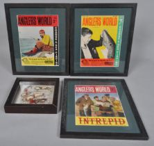 Three framed 1960's Fishing magazine covers and a framed set of lures