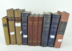 A selection of leather bound books relating to music,