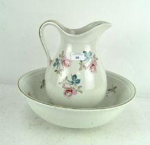 A Burleigh ironstone Staffordshire wash bowl with matching jug