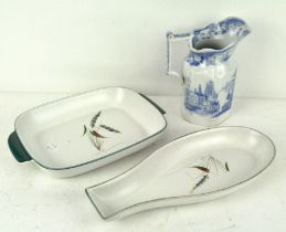 A Denby stoneware fish dish and oblong dish, largest 33cm x 15cm,