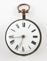 An open face pocket watch. Circular white dial with roman numerals. Key wound movement.