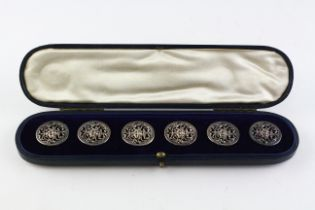 A set of six late Victorian silver pierced buttons, in fitted box, hallmarked for Birmingham,