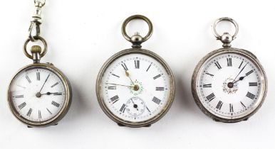 silver 0.935 open face pocket watch together with two base metal pocket watches