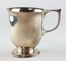 A George V silver Christening mug, hallmarked Sheffield 1924 by Cooper Brother & Sons Ltd,