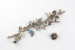 A sterling silver charm bracelet with bolt ring clasp and fitted with twenty two assorted charms.