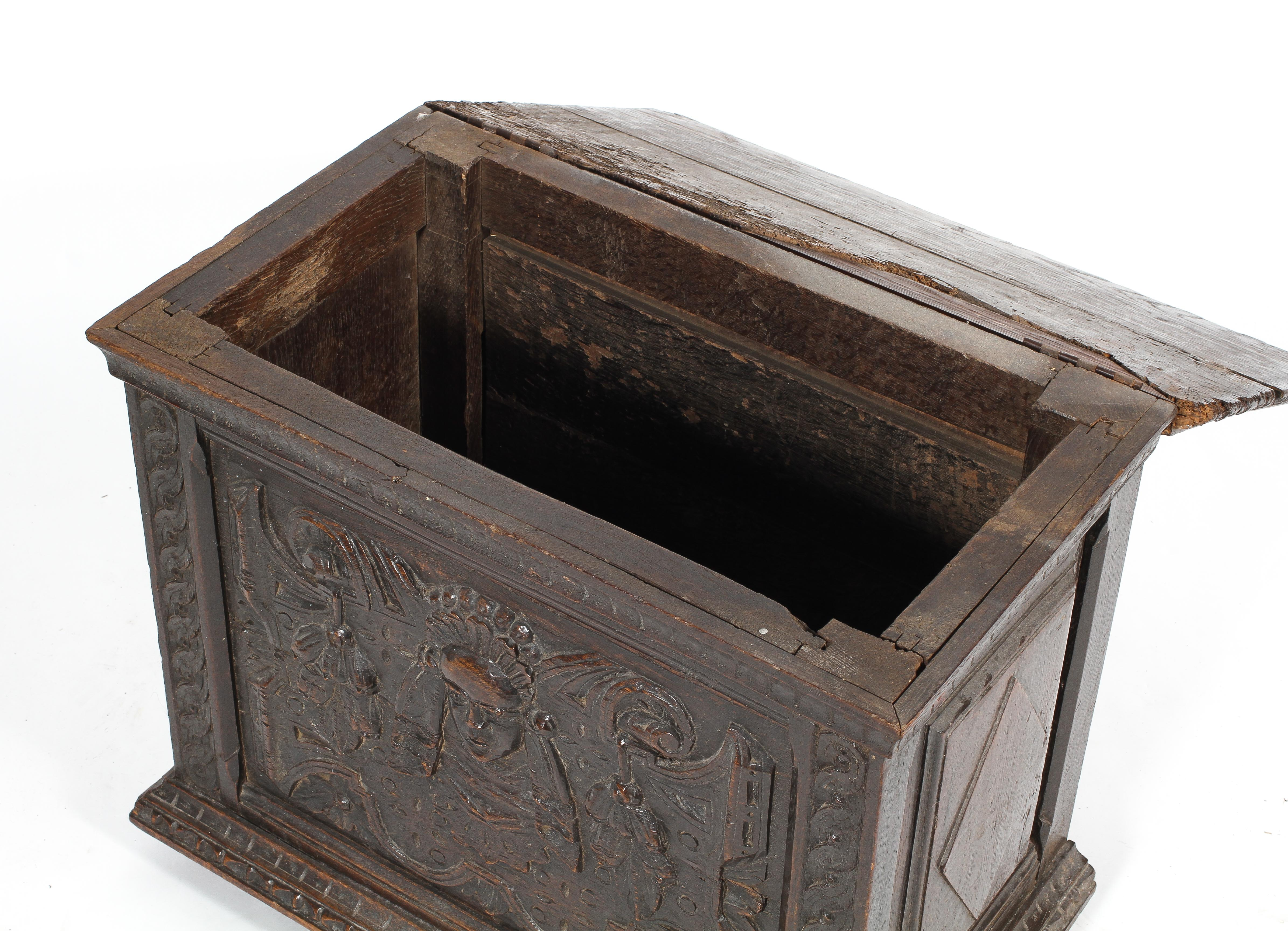 A small oak coffer or box, 17th century or later, with carved foliate rims, - Image 2 of 2