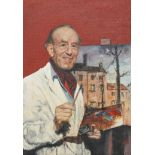 J Tyler, 1961, portrait of Adrian Hill with palette, oil on board, framed, signed lower right,