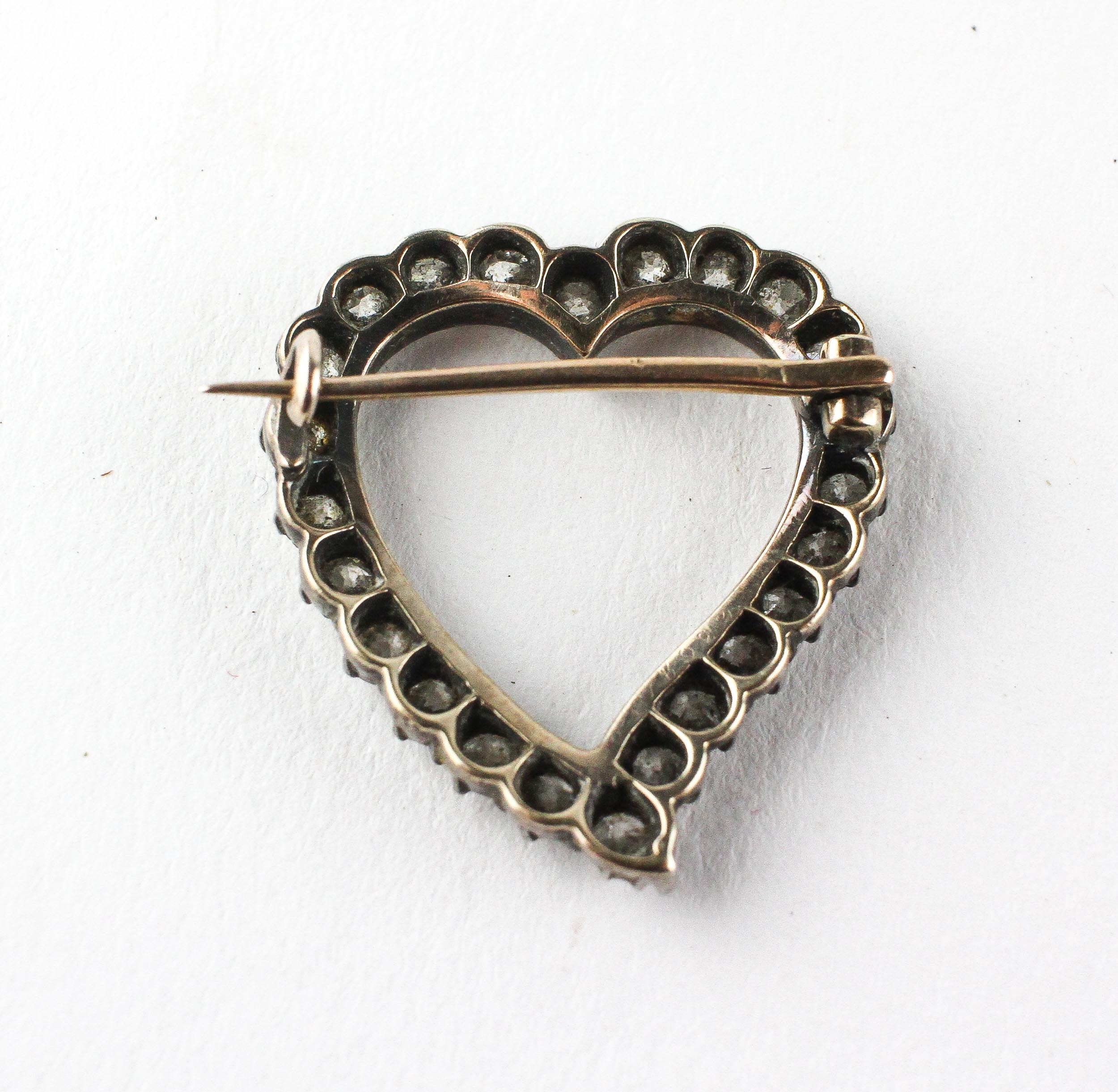 A yellow and white metal open heart brooch set with twenty four old European cut diamonds - Image 2 of 2