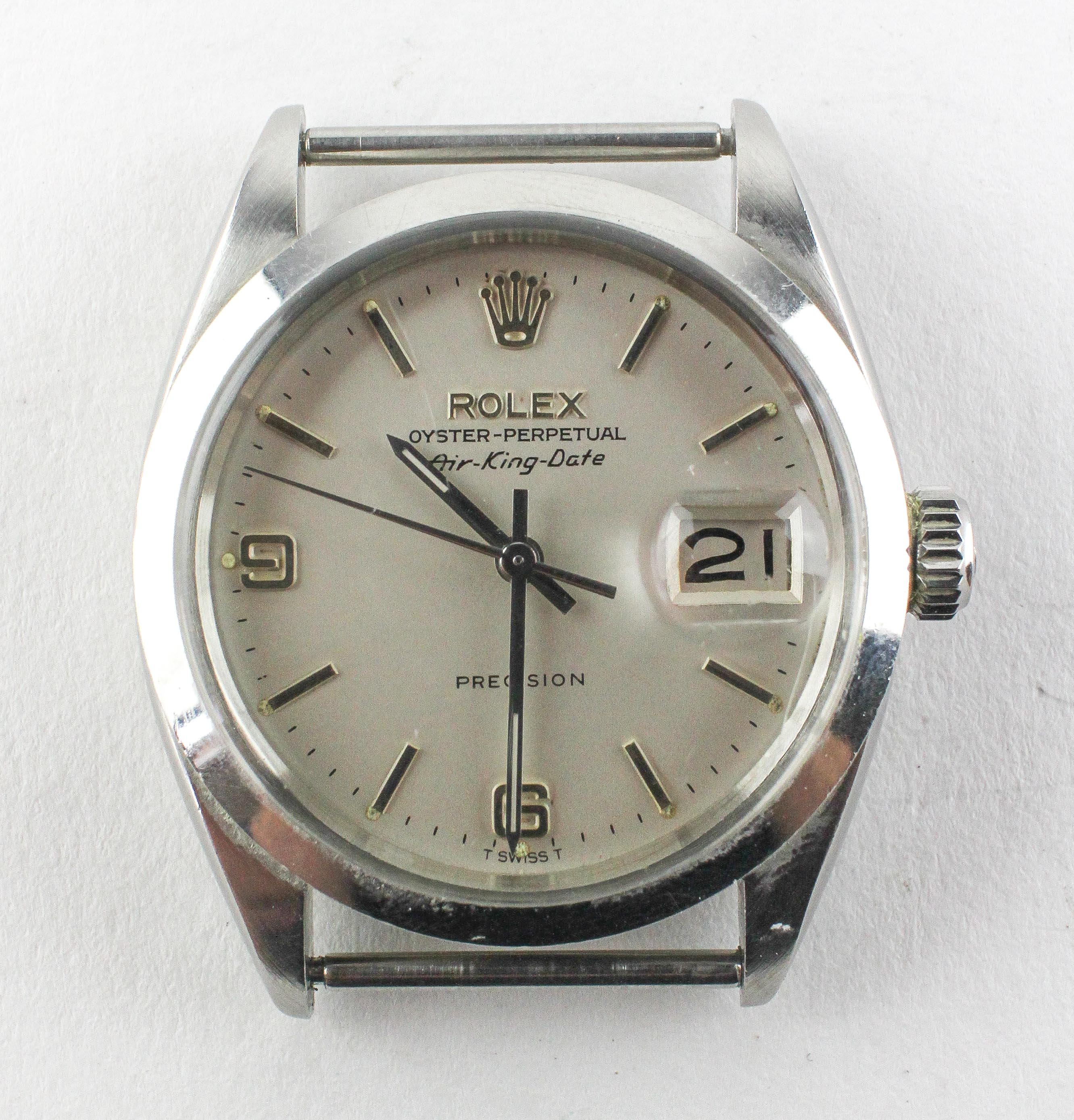 A stainless steel rolex oyster perpetual air king date wristwatch.