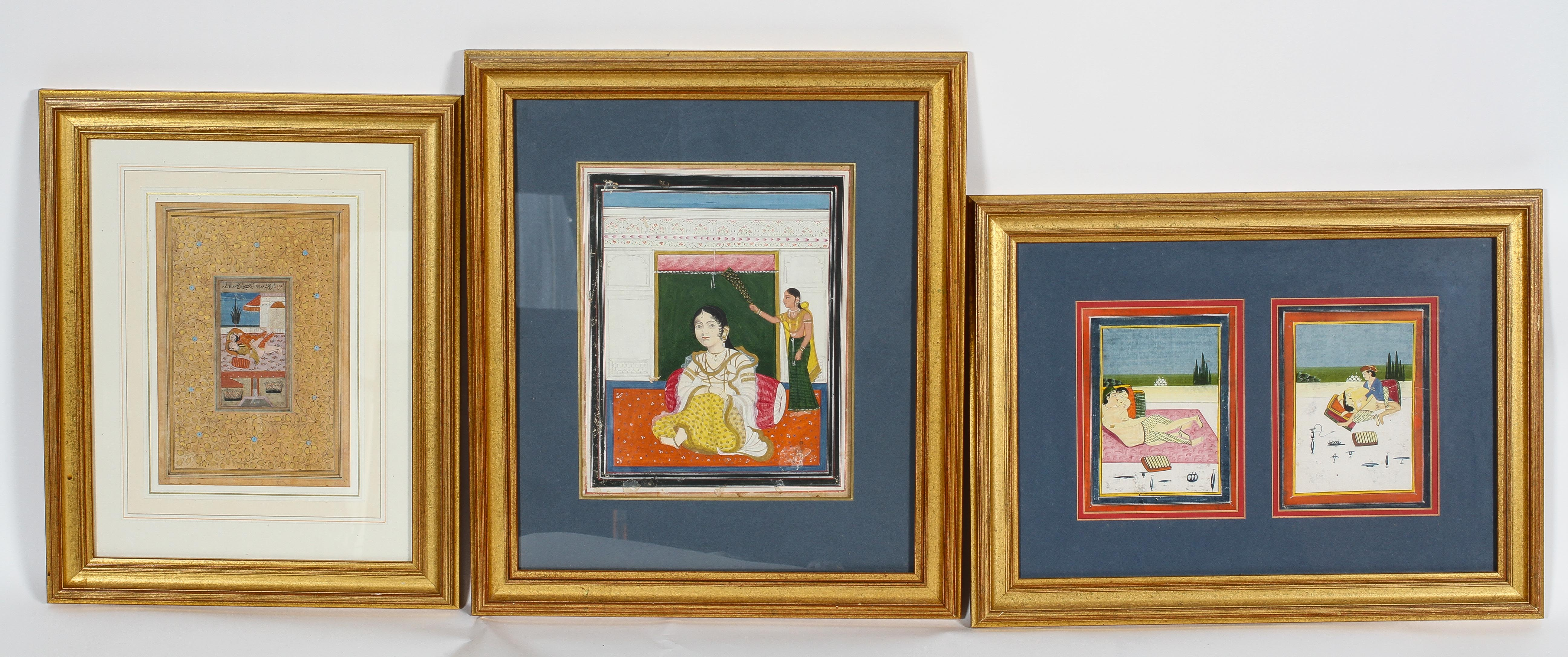 Indian miniatures, a pair of erotic scenes, watercolour and gilding, in one frame,