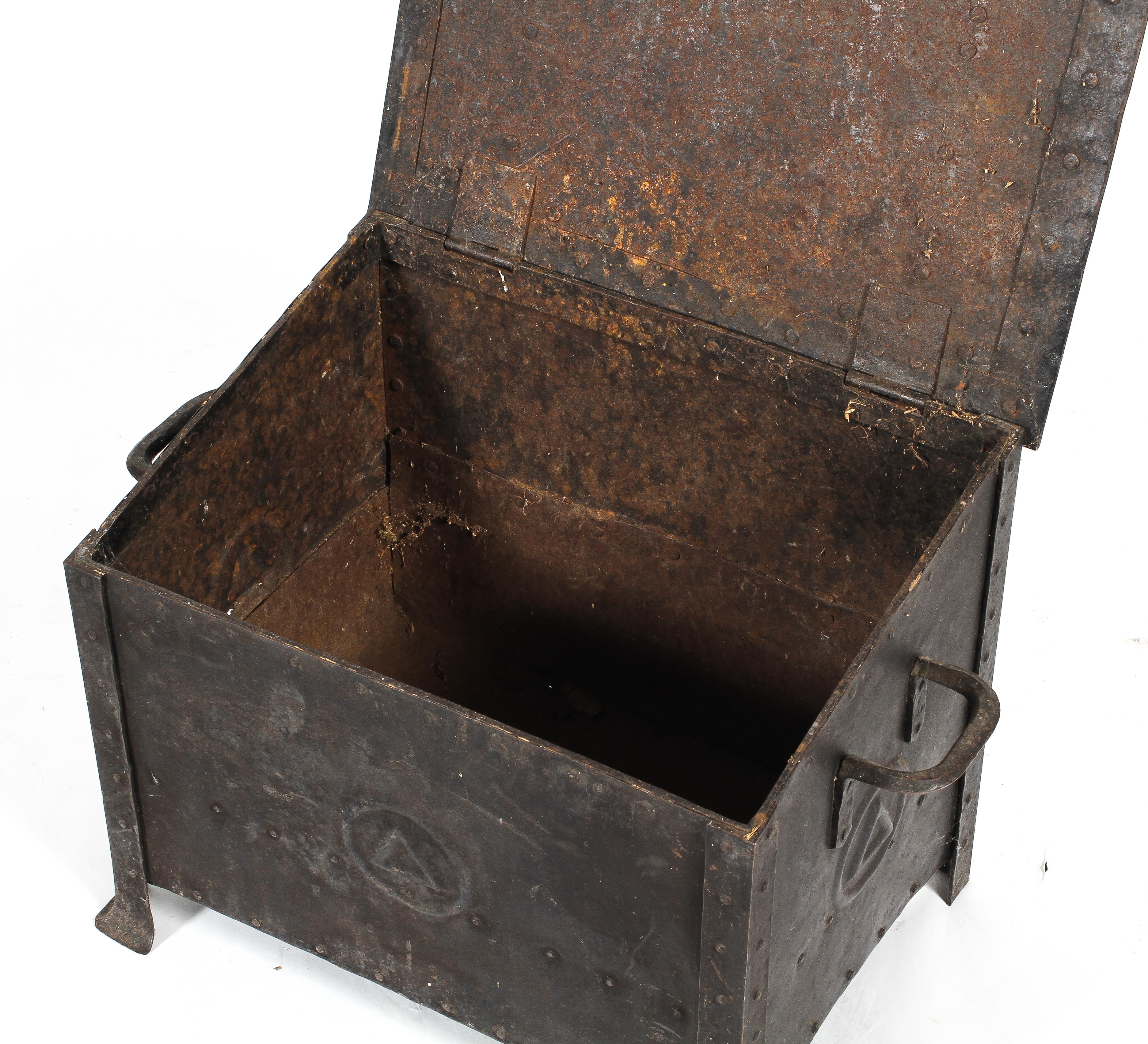 An Arts and Crafts steel coal scuttle, with hinged cover and twin handles, - Image 2 of 2