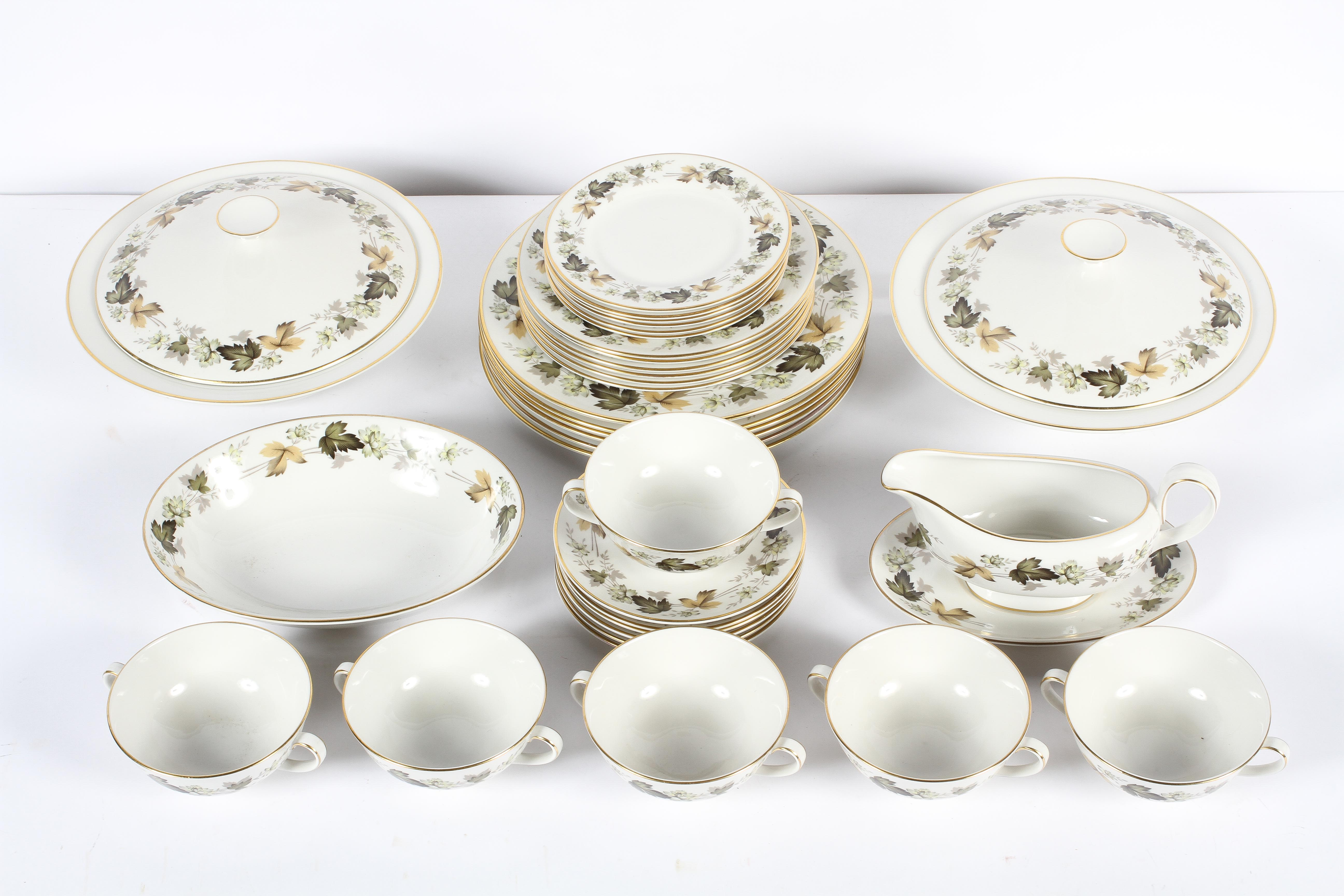 A Royal Doulton 'Larchmont' pattern part dinner service, 20th century, printed grey marks,