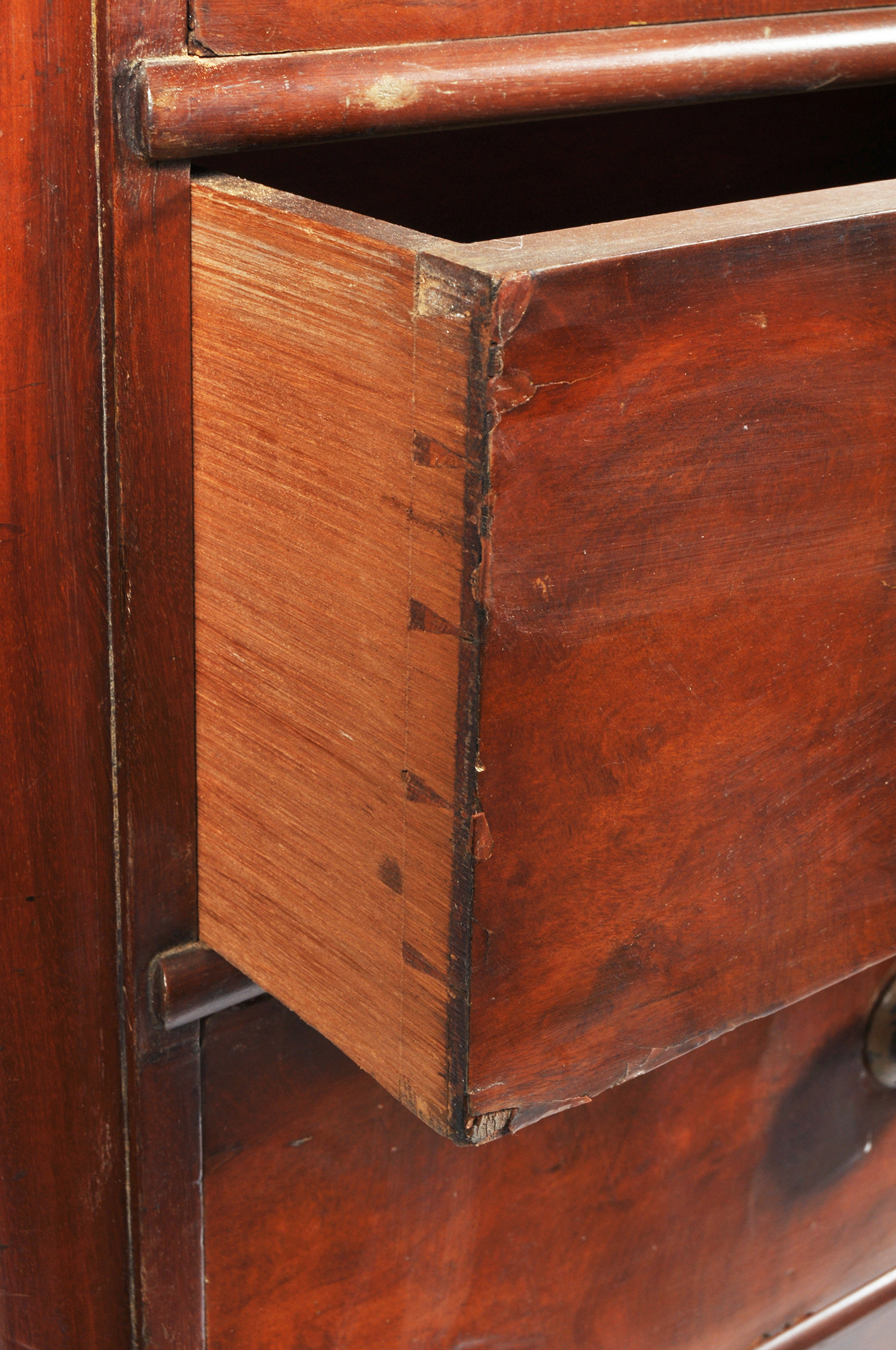 A Victorian mahogany chest of drawers, two short and four graduated long drawers with turned pulls, - Image 2 of 3