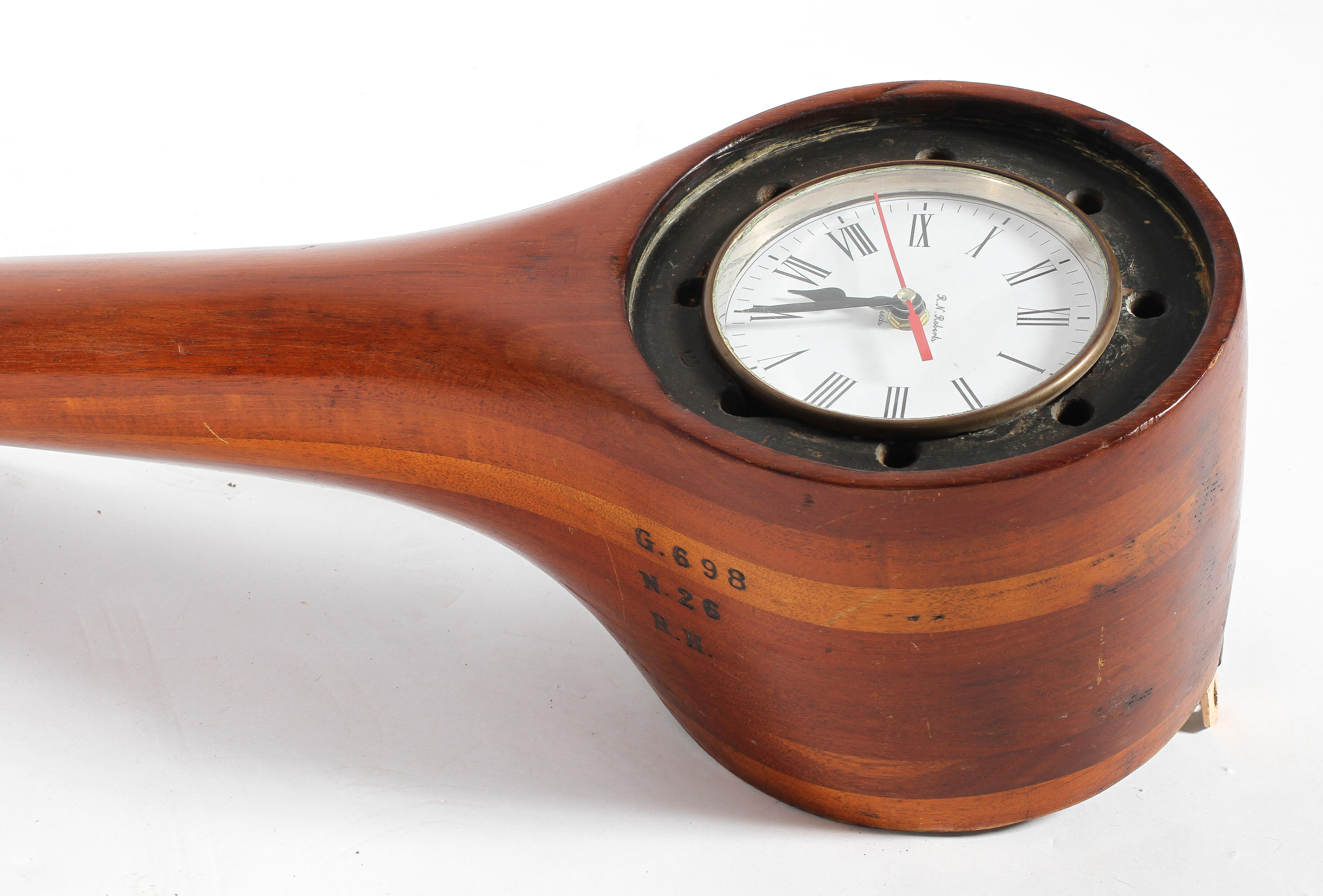 A wooden propeller blade from a WWI Avro 504 Bi-plane, fitted with a Roberts clock, - Image 2 of 2