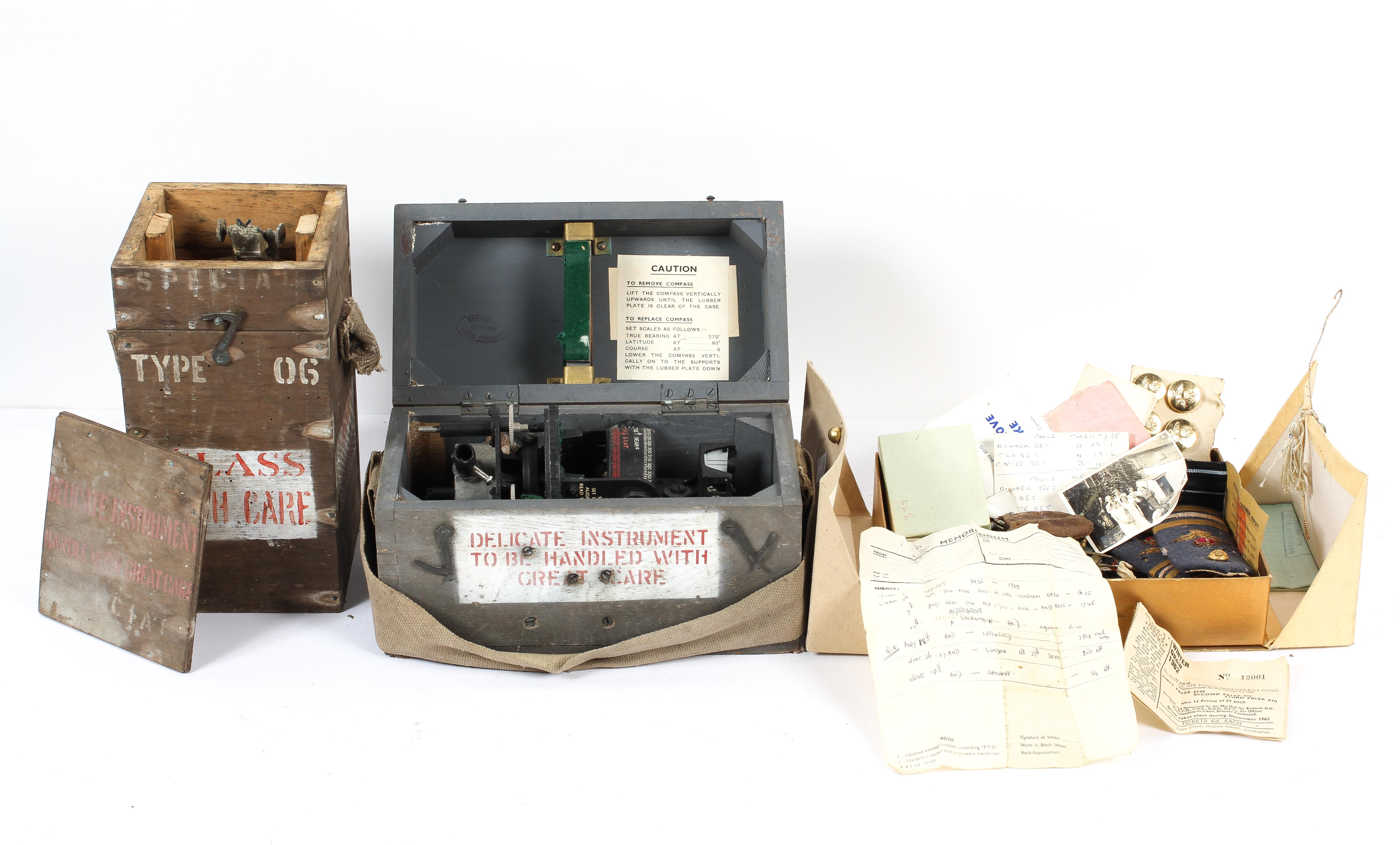 Two WWII flight instruments and ephemera, the first, a handheld steering compass, Type 06,
