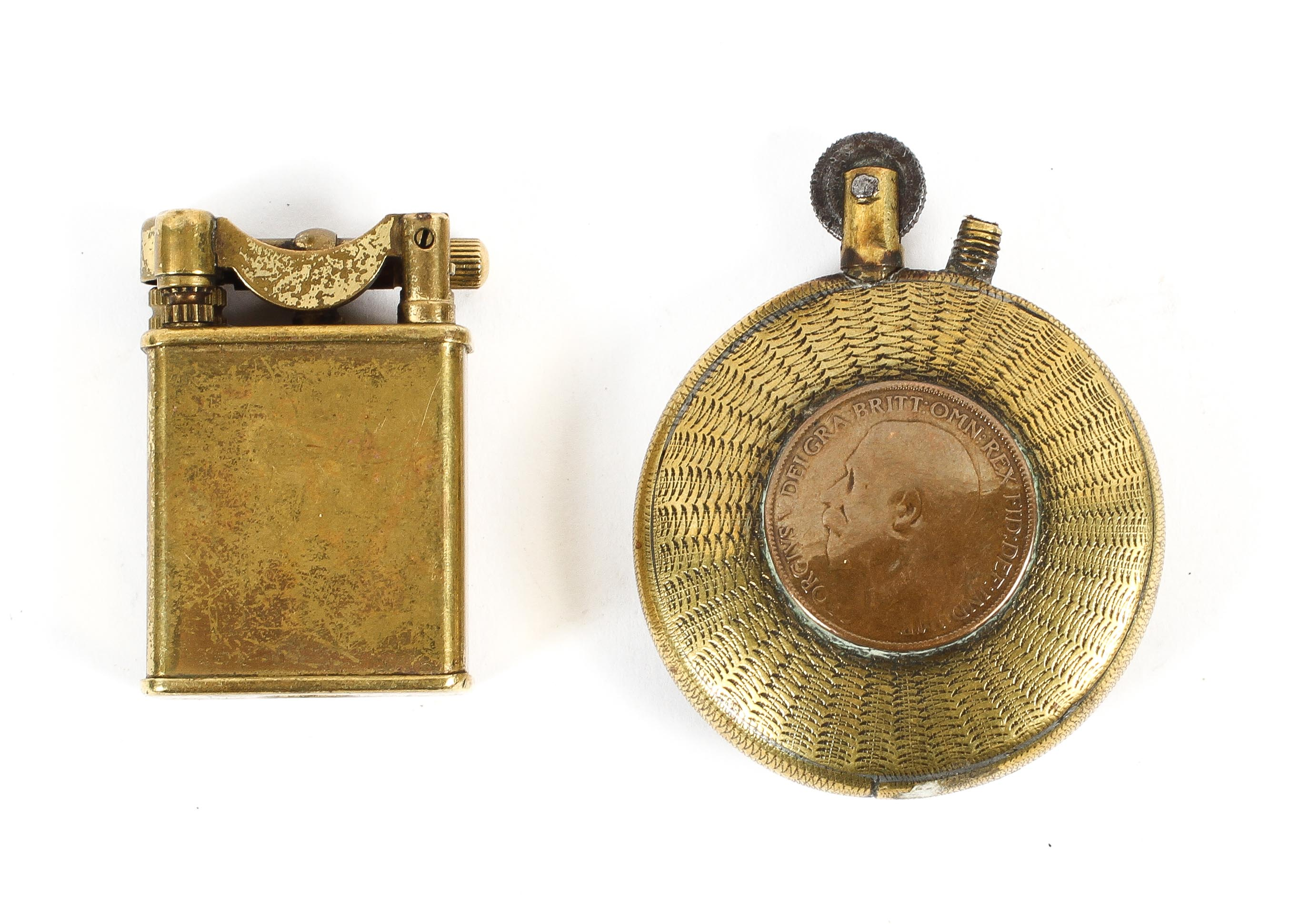 Two trench art lighters together with a brass shell case, - Image 2 of 2