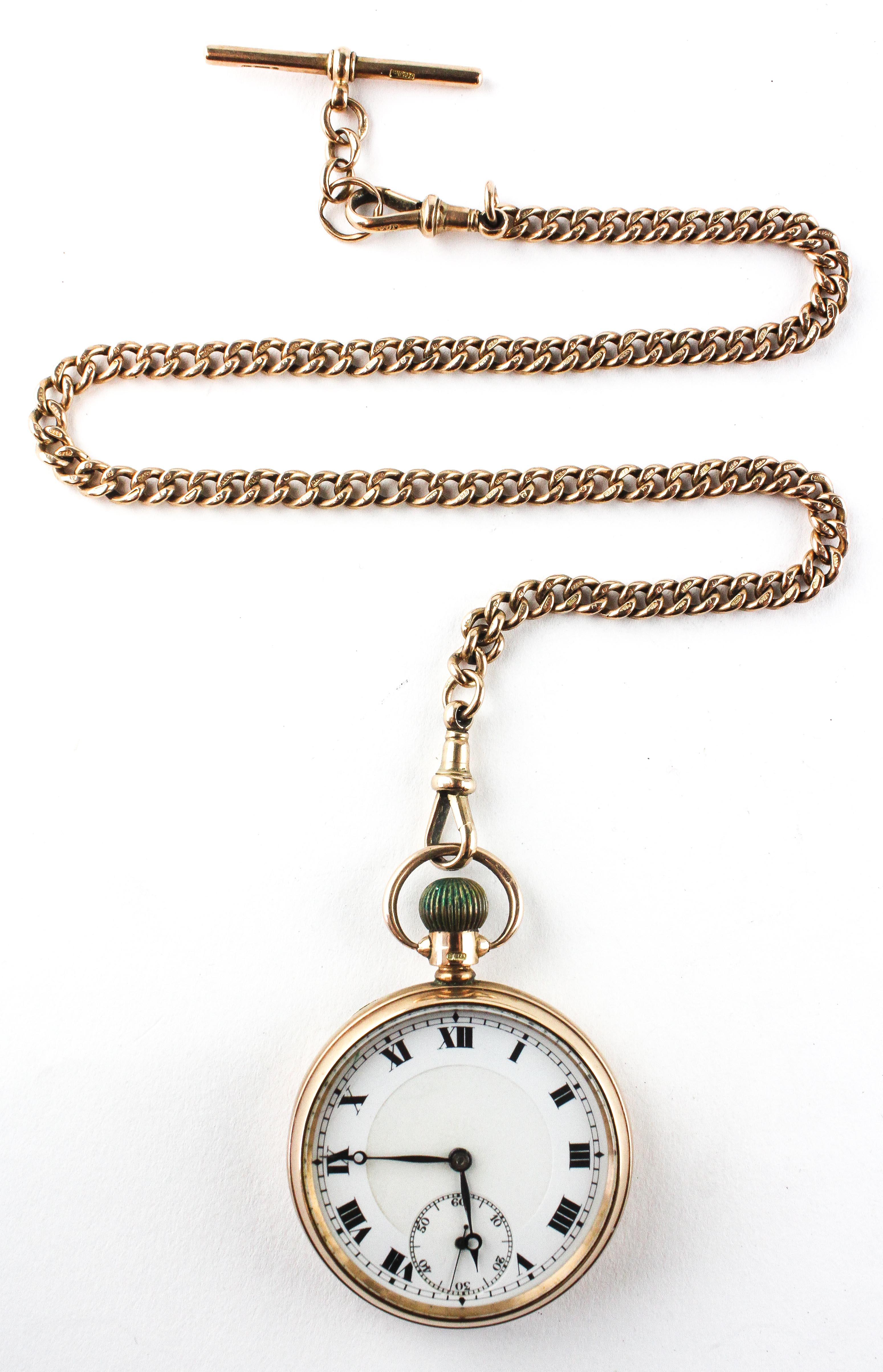 An open face pocket watch. Circular white dial with roman numerals. - Image 2 of 5