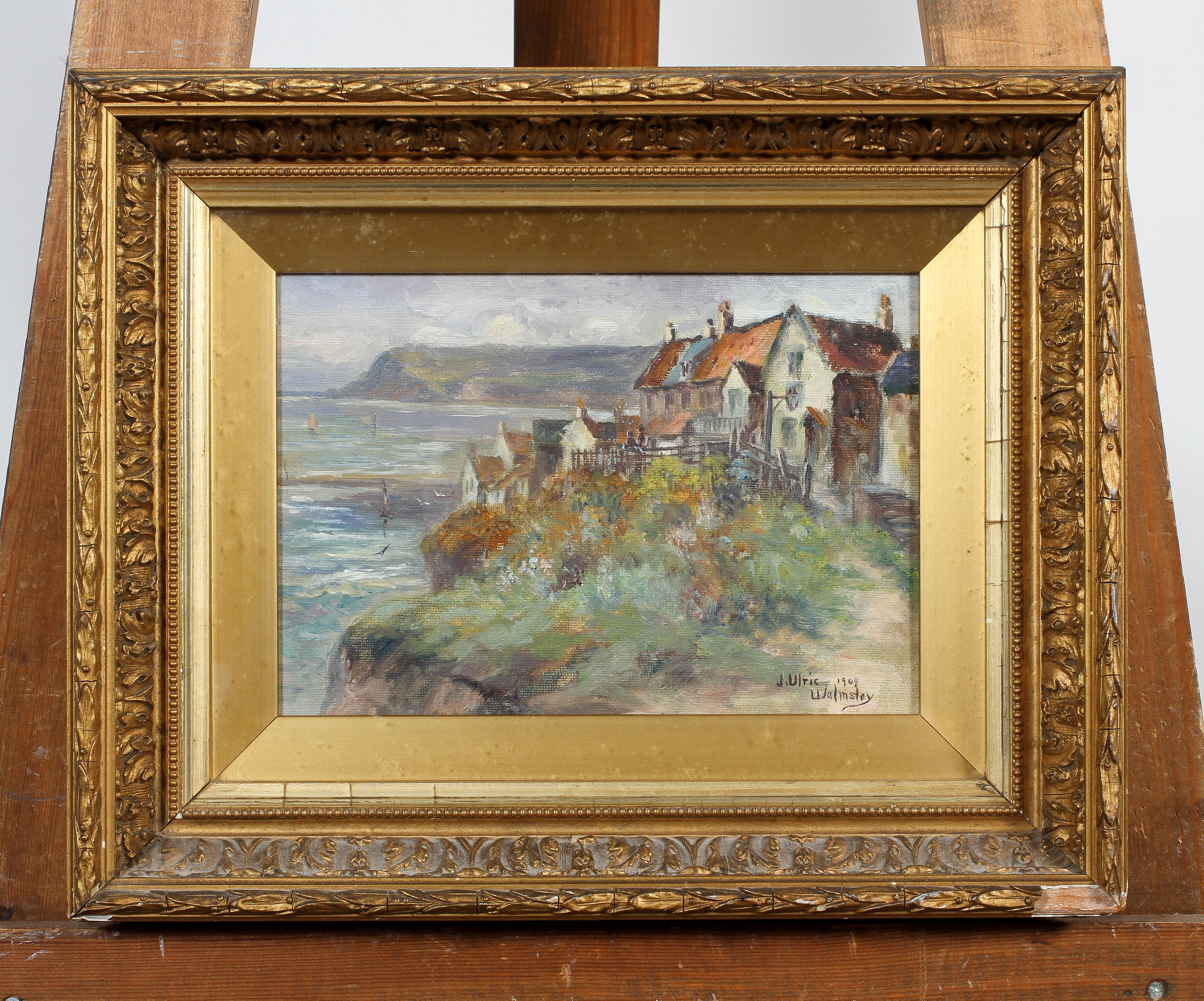 J Ulric, Walmsley, Coastal Village Scene, oil on canvas, signed and dated 1909 lower right, - Image 2 of 4