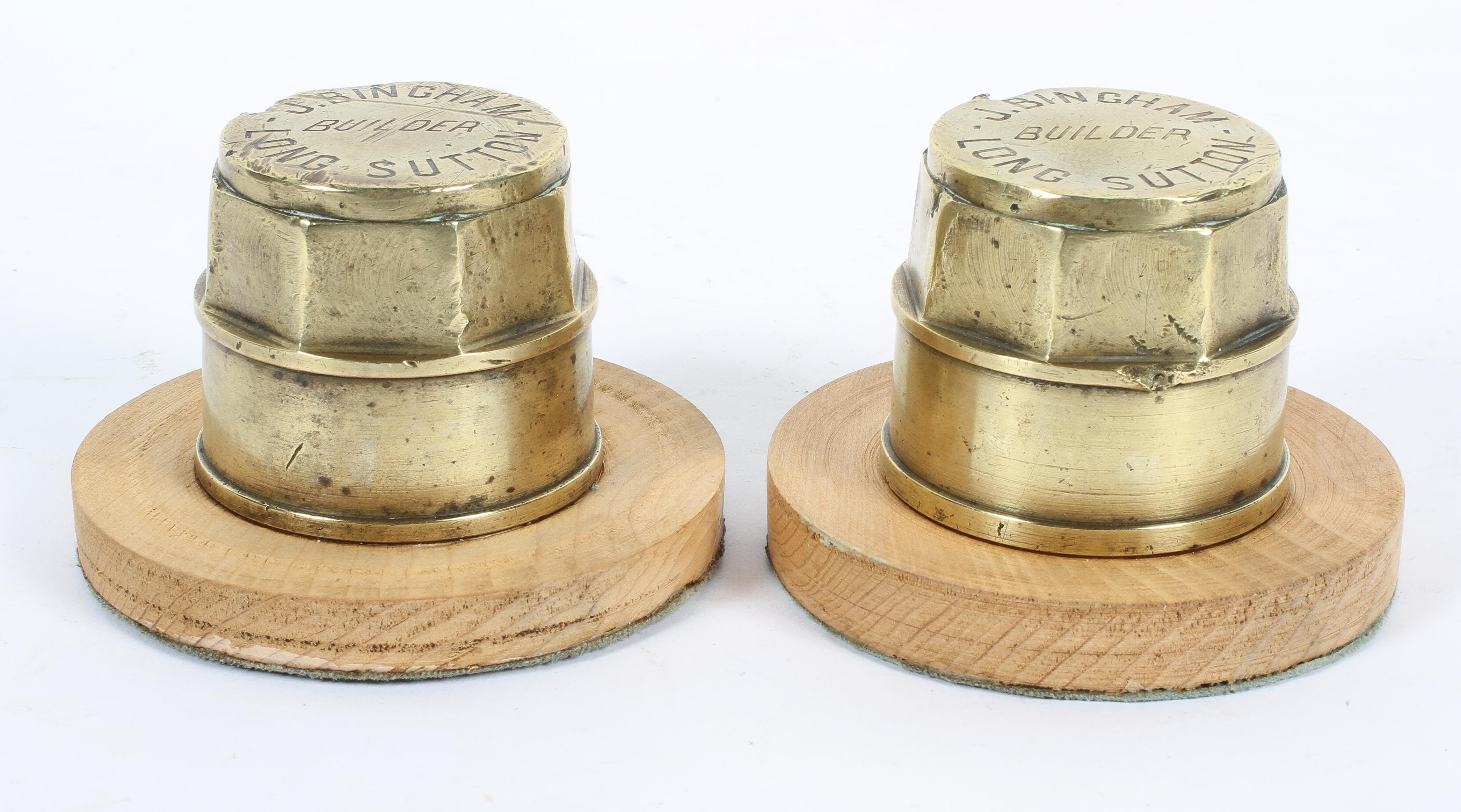 Two brass hub caps mounted as paperweights, by J Bingham, Builder, Long Sutton, - Image 2 of 2