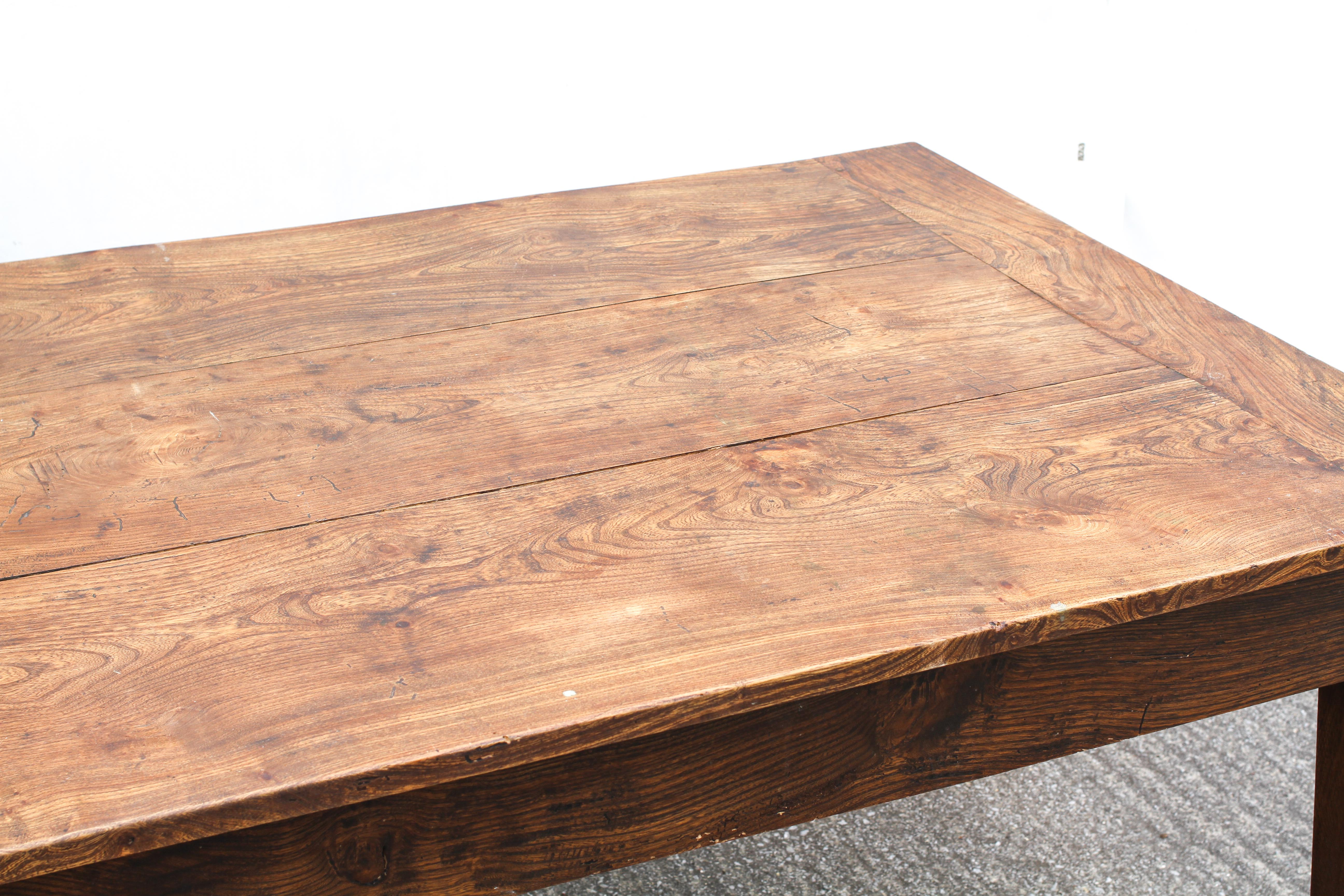An elm refectory table, possibly French, the cleated, - Image 3 of 5