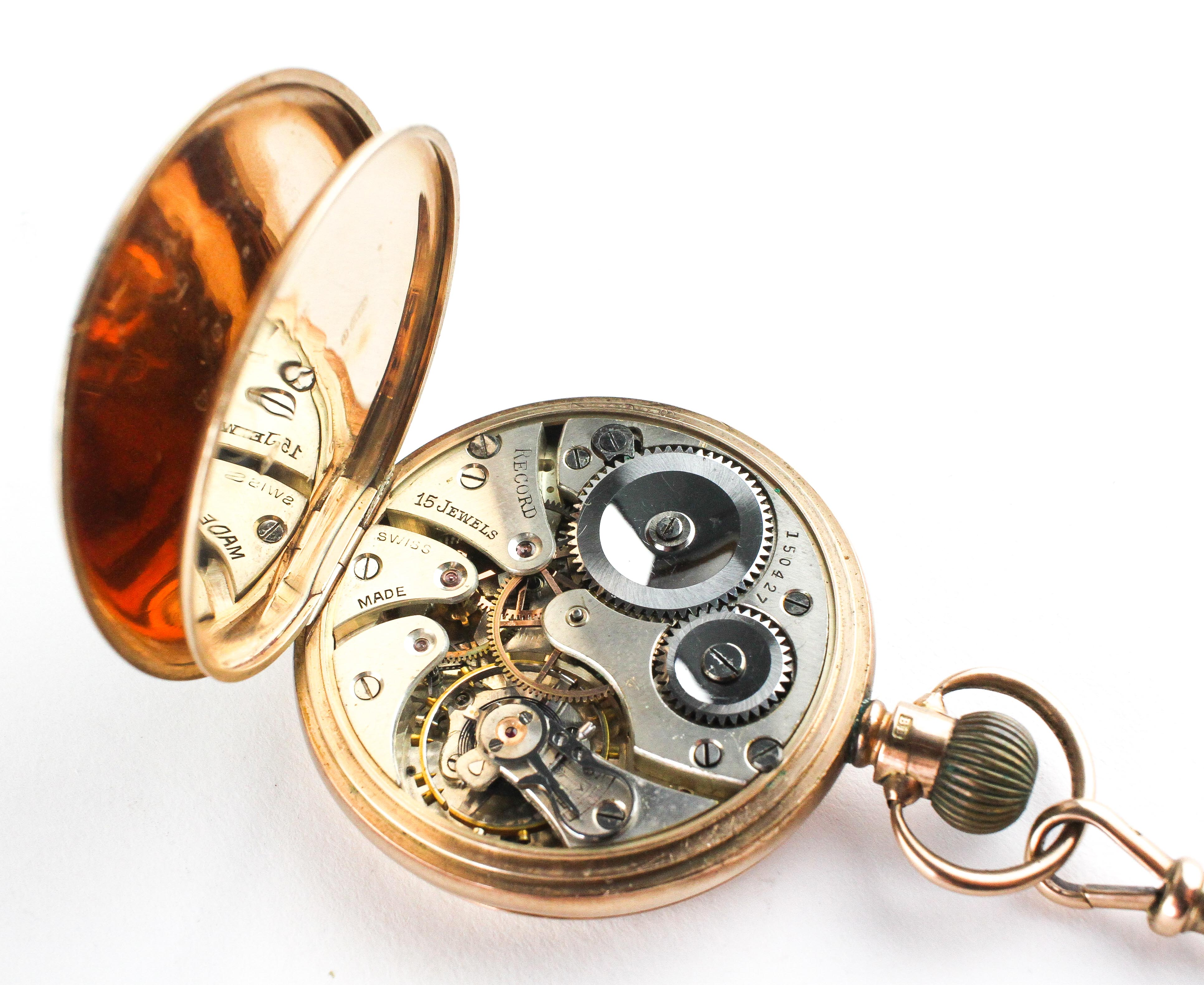 An open face pocket watch. Circular white dial with roman numerals. - Image 4 of 5
