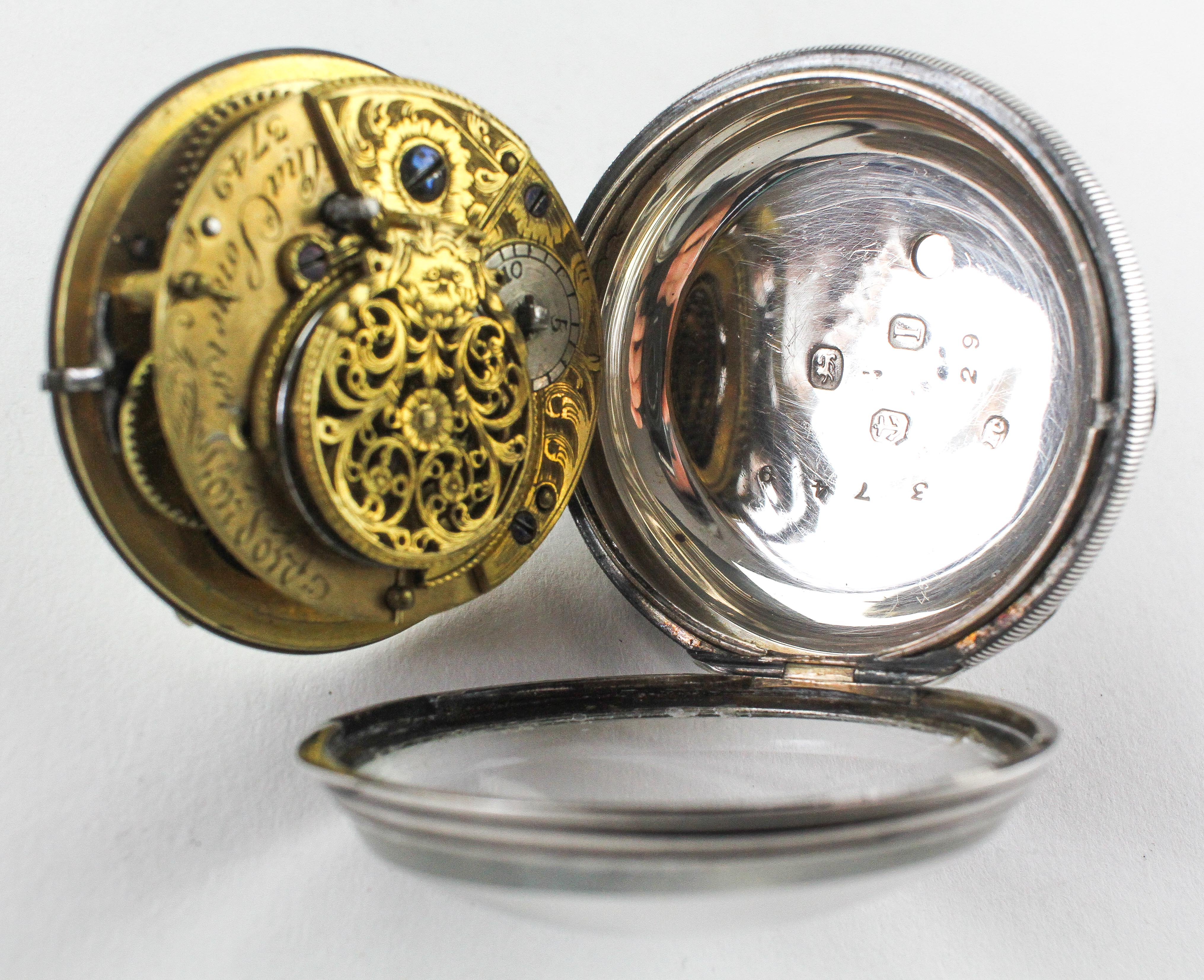 A large open face pocket watch. Circular white dial with roman numerals. Key wound movement. - Image 3 of 3