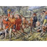 Sir John Gilbert, print of a processional boar hunt, framed and glazed,