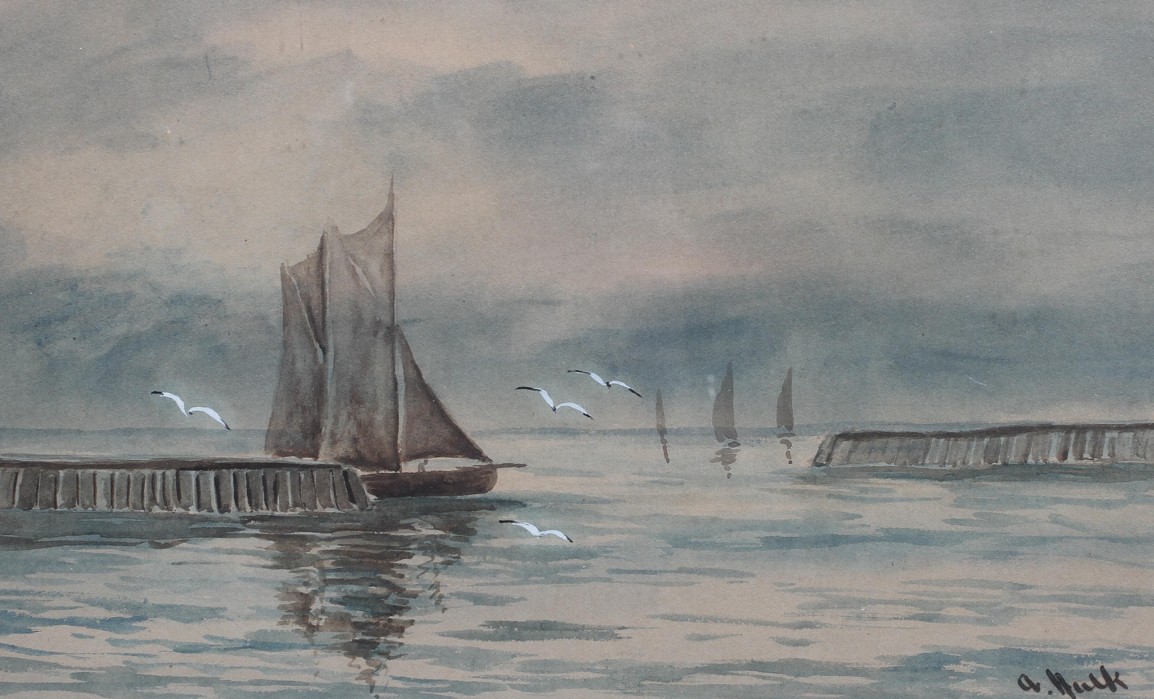Abraham Hulk Jnr (1851-1922), Fishing Ship at Harbour Entrance, - Image 3 of 4