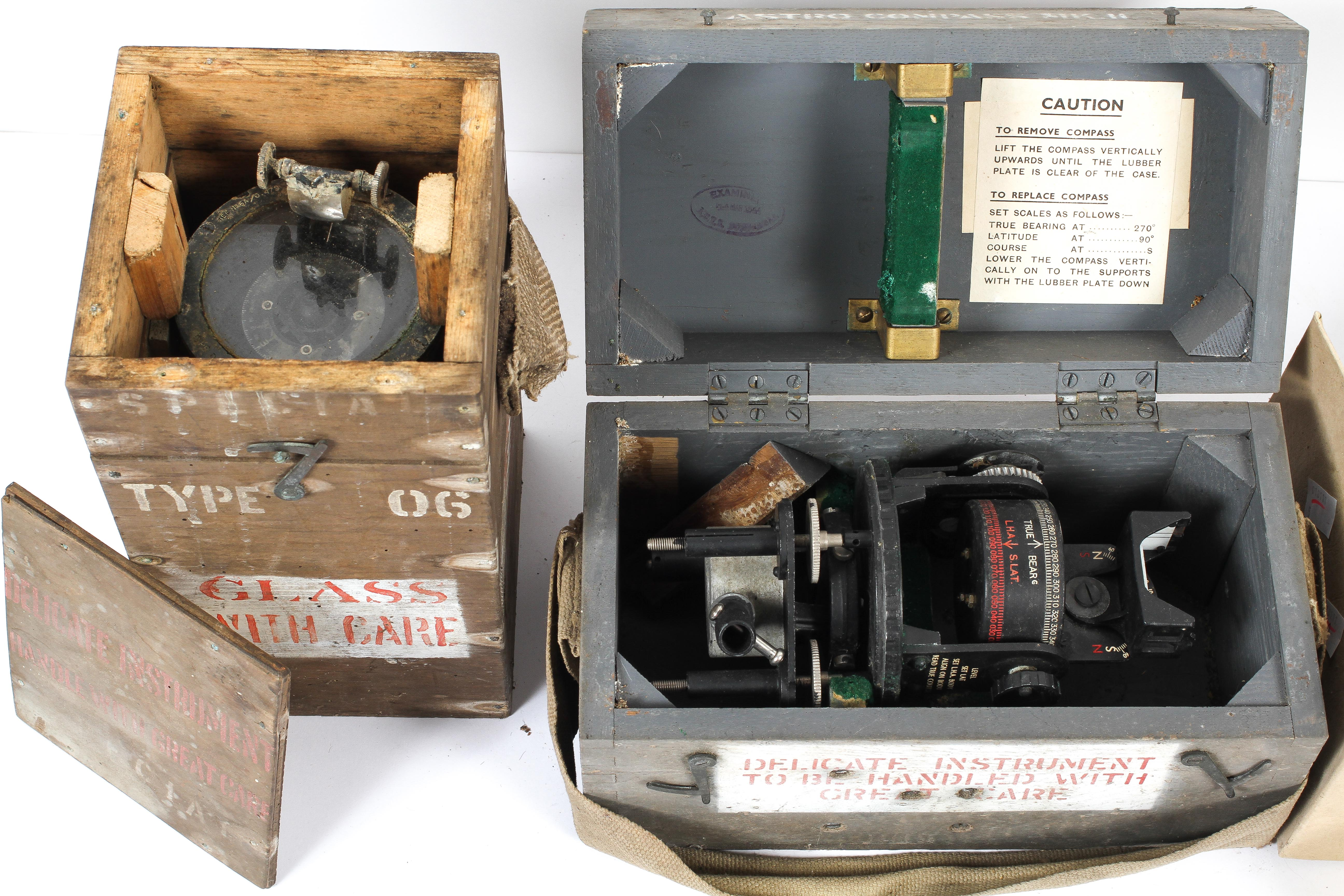 Two WWII flight instruments and ephemera, the first, a handheld steering compass, Type 06, - Image 3 of 3