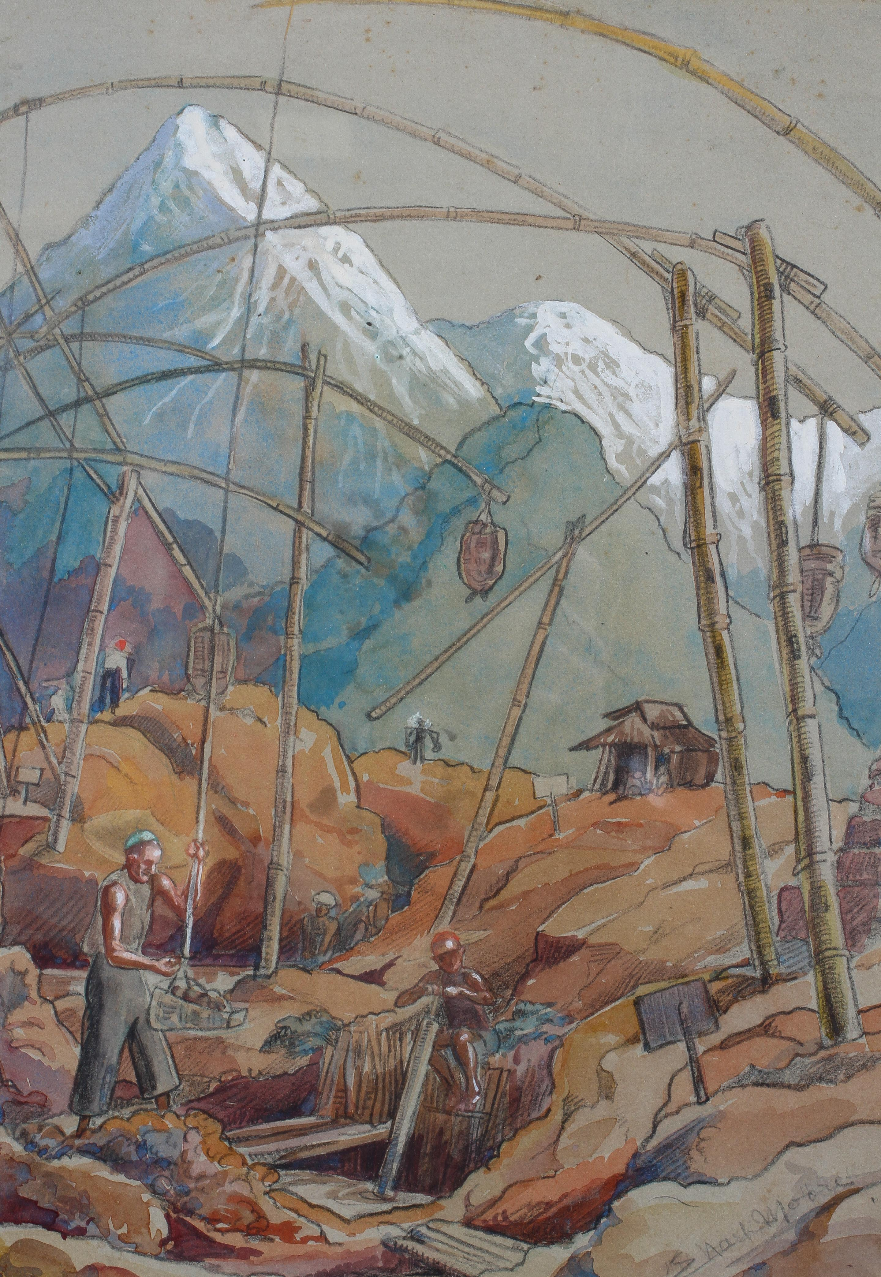 E Nash Moore, pencil and watercolour, Mountainous construction scene, signed lower right,