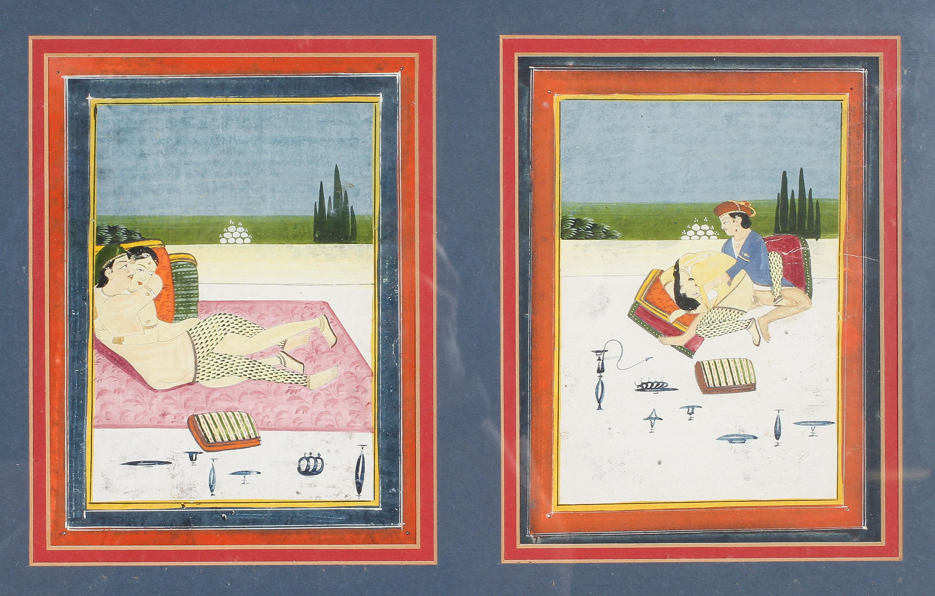 Indian miniatures, a pair of erotic scenes, watercolour and gilding, in one frame, - Image 4 of 4