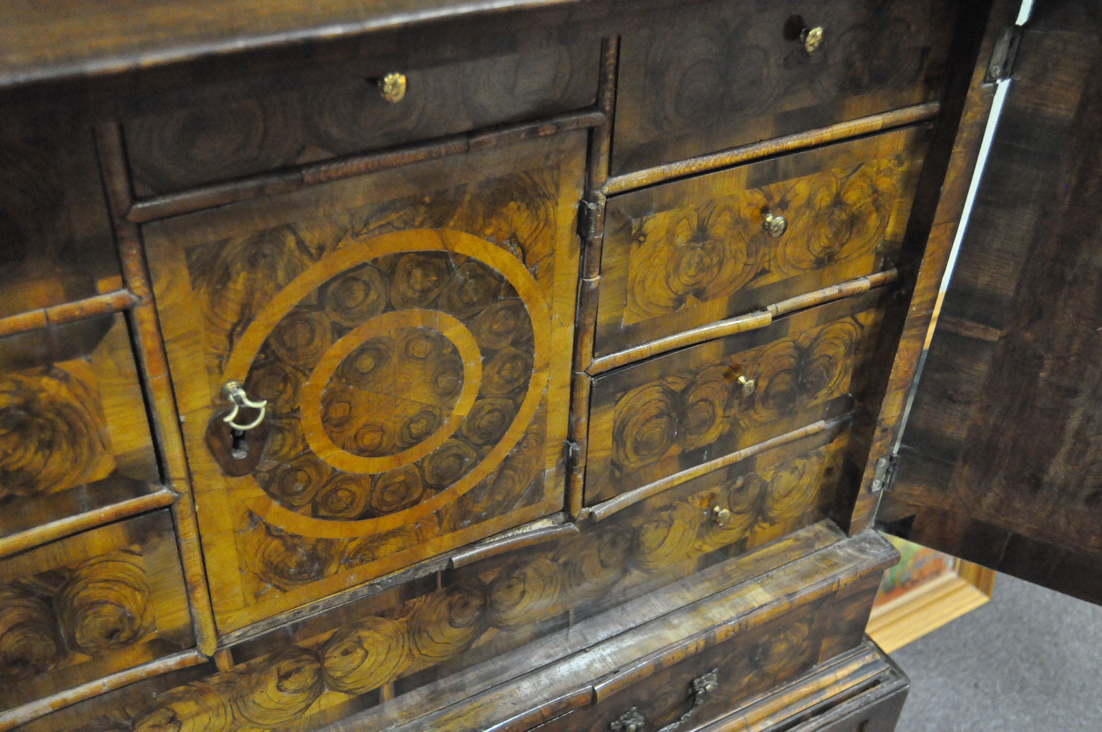 An oyster veneered cabinet on stand, 17th century style but later in date, - Image 18 of 18