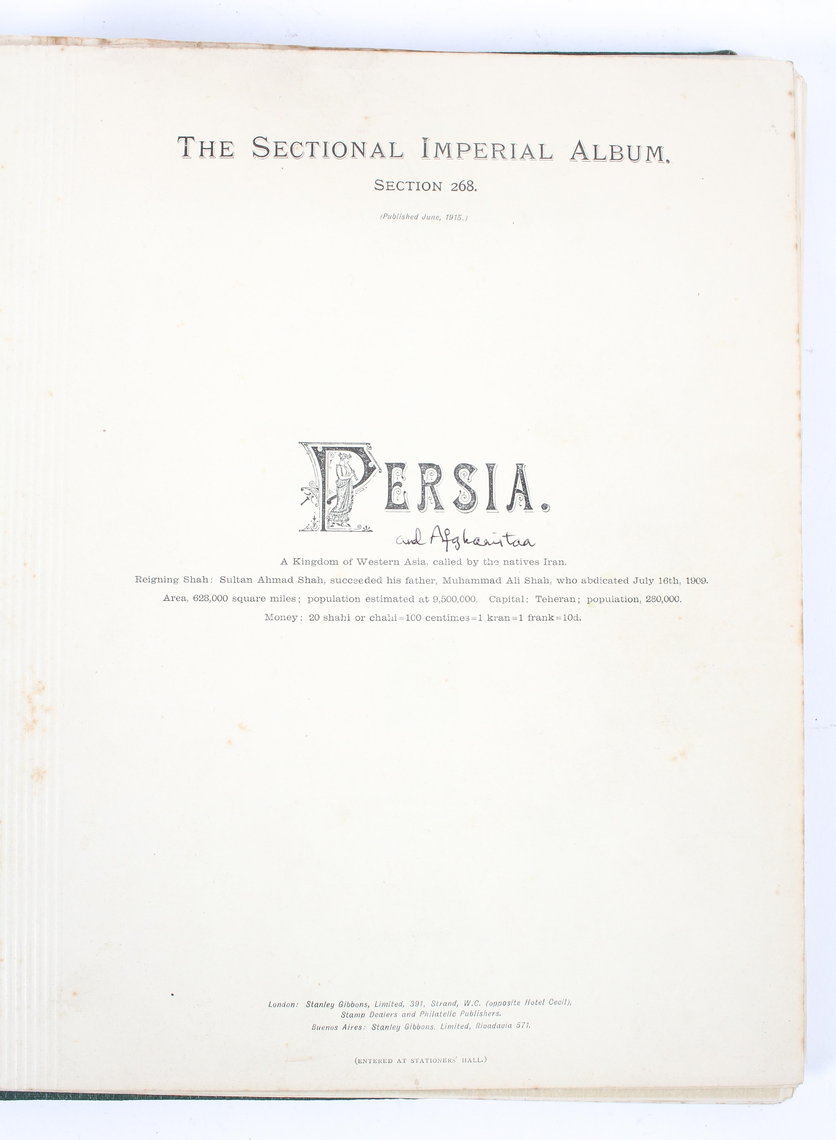 A Stanley Gibbons 'Imperial' album and three stock books mounted with early stamps of Persia, - Image 2 of 3