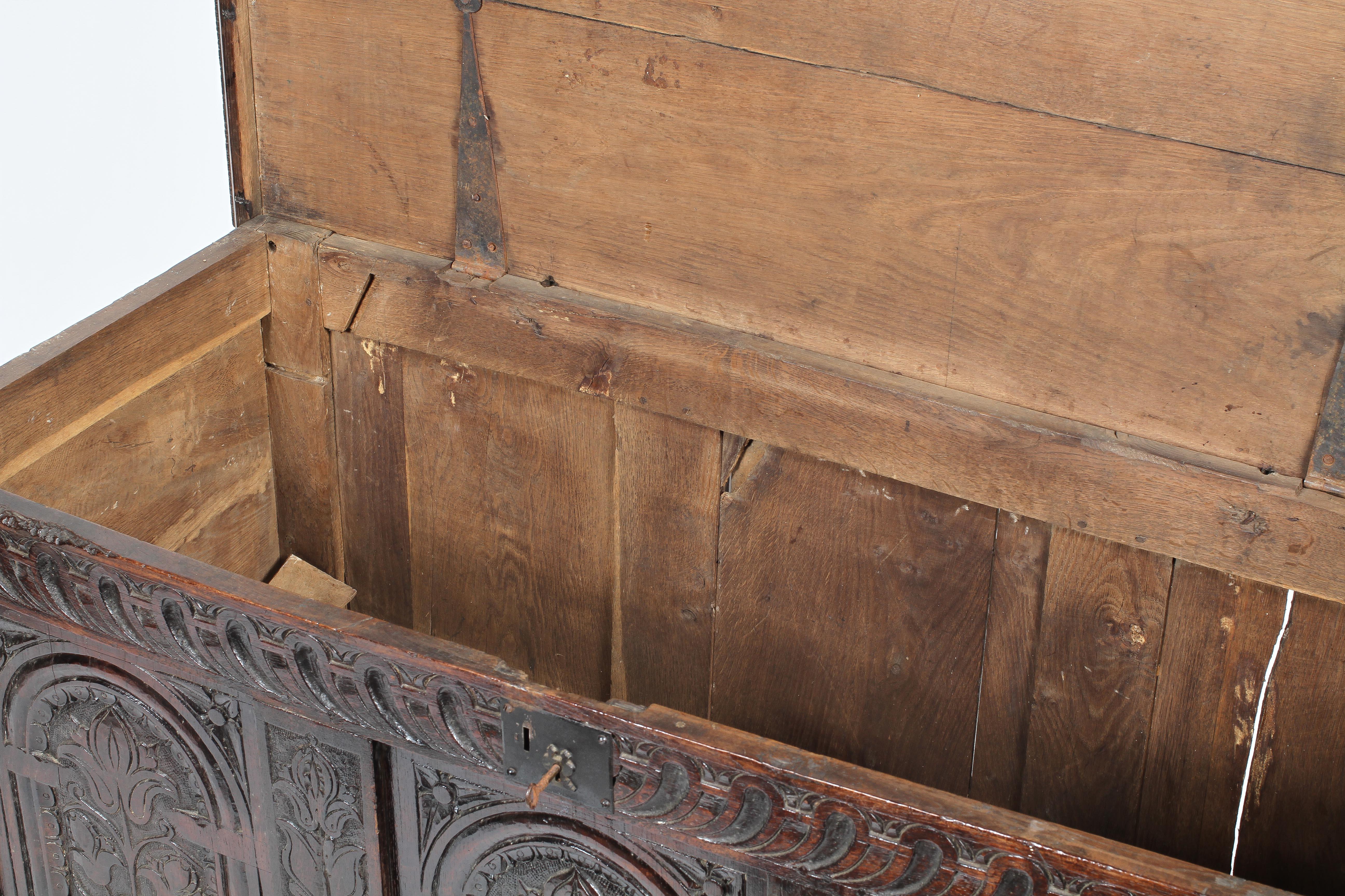 An oak coffer, 17th century, - Image 2 of 2