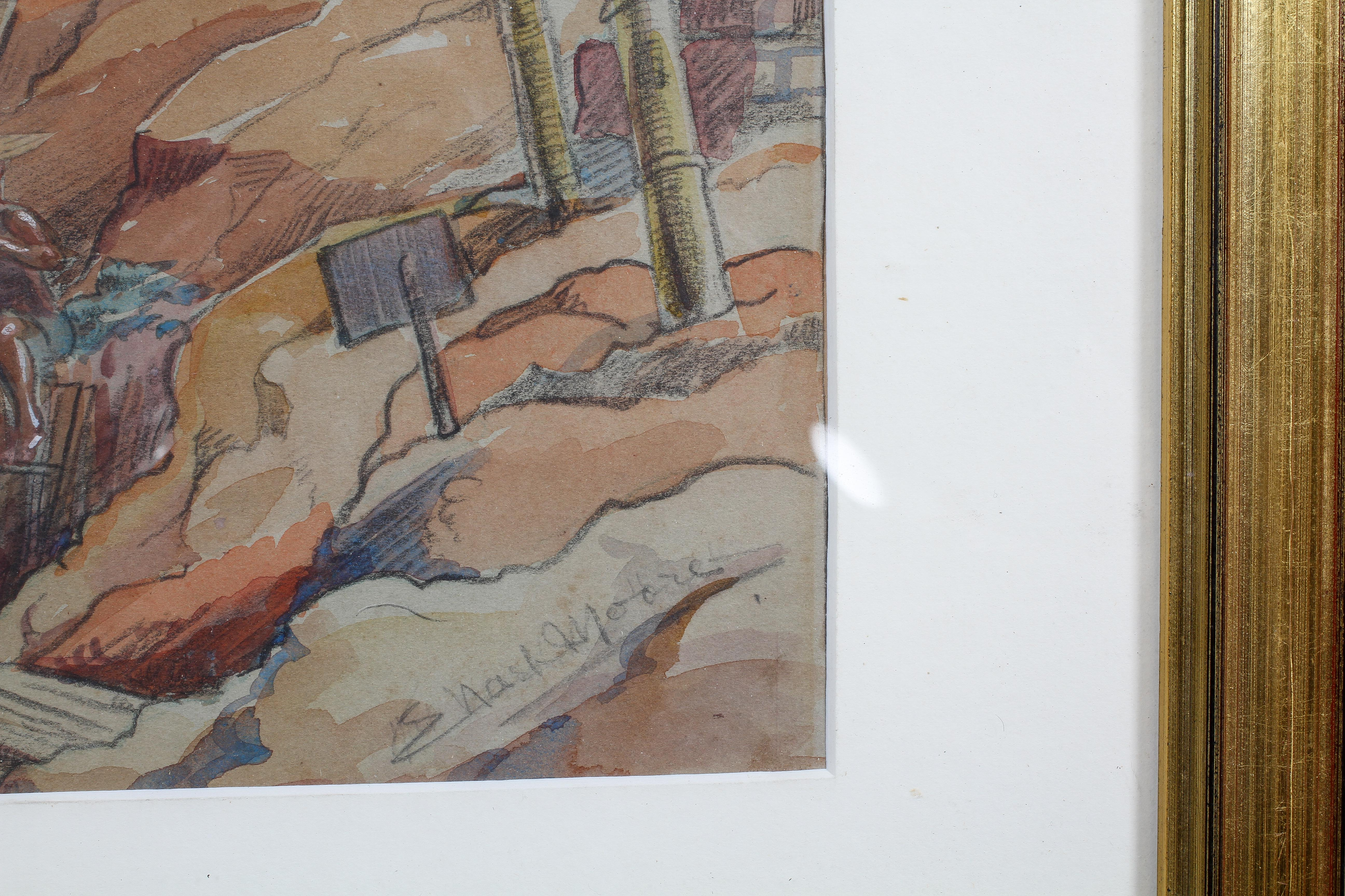 E Nash Moore, pencil and watercolour, Mountainous construction scene, signed lower right, - Image 3 of 4