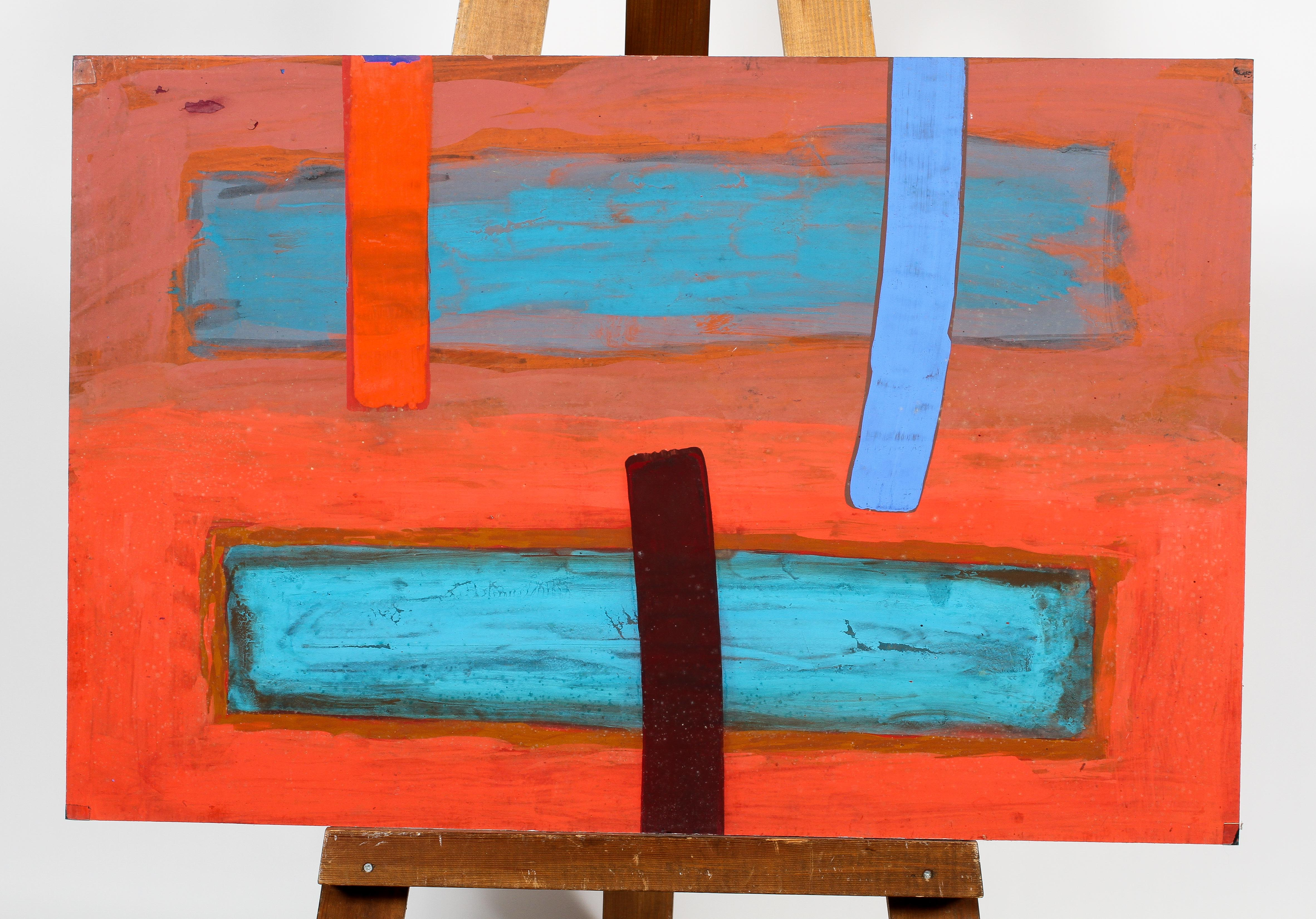 Peter Baxter Mill, Abstract in Red and Blue, gouache on board, attributed and dated 1986 verso,