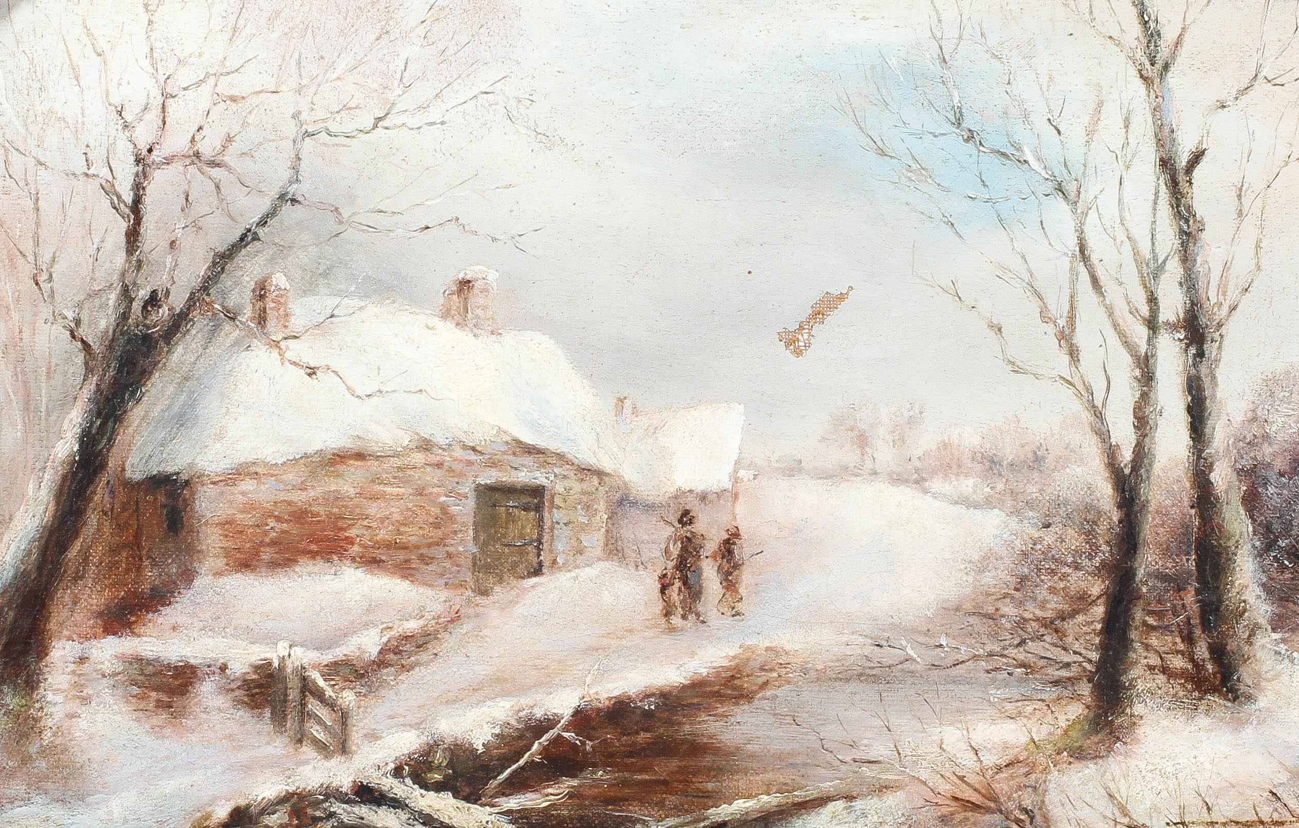 George Turner, Breadsall, Derbyshire - a snowy scene, oil on canvas, signed lower right,