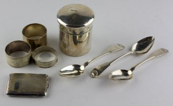 A selection of silver wares, to include a lidded pot of cylindrical form, three napkin rings,
