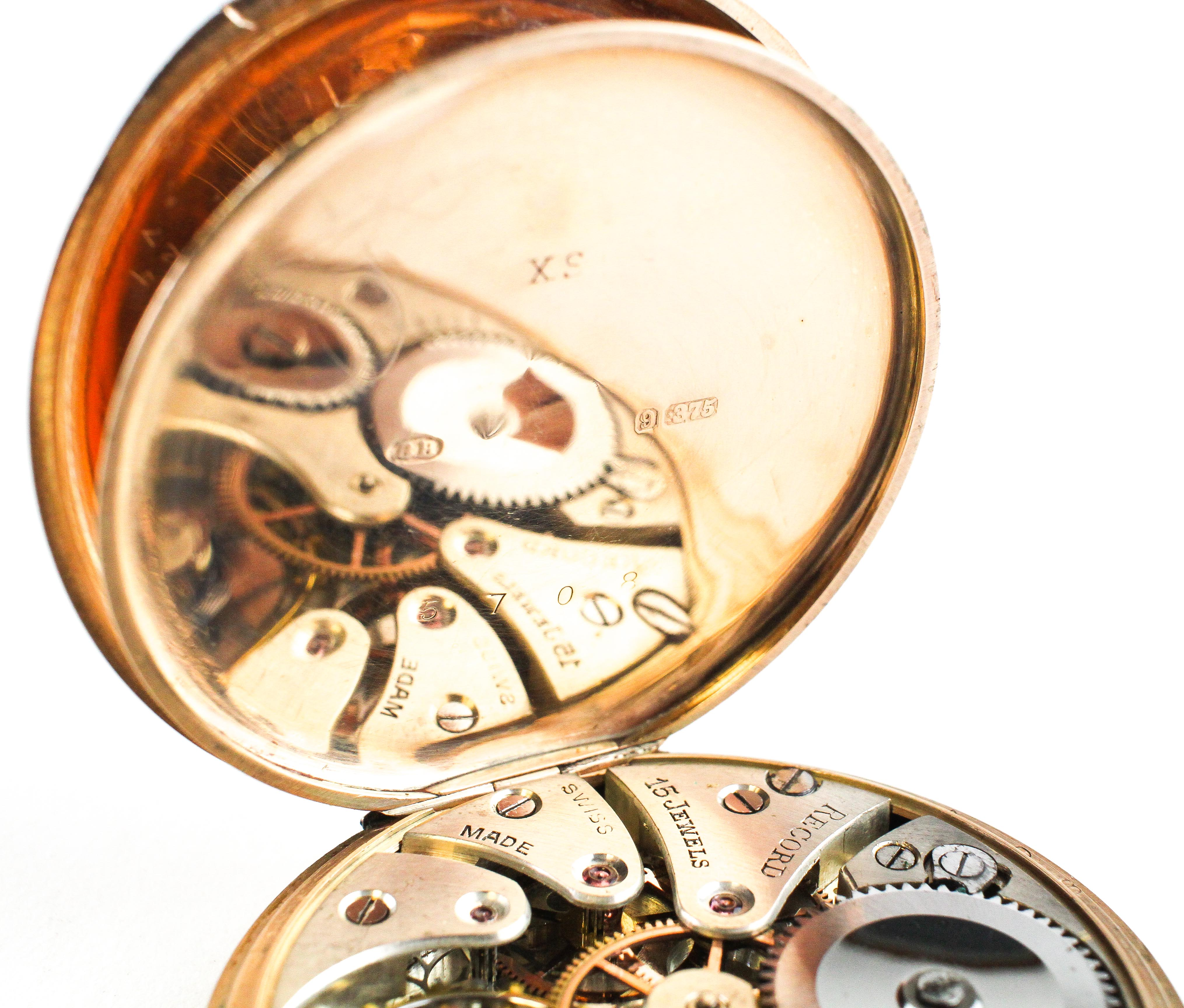 An open face pocket watch. Circular white dial with roman numerals. - Image 5 of 5