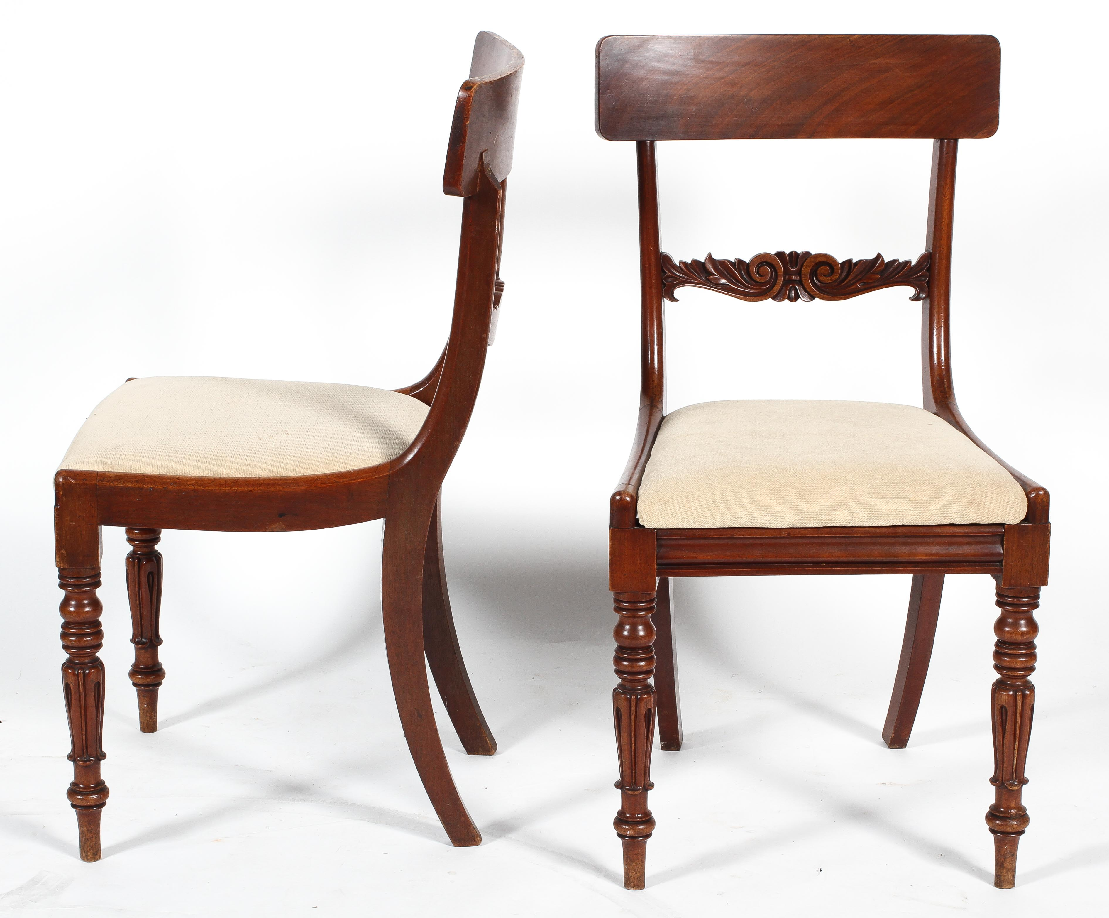 A pair of Regency style mahogany dining chairs with bar backs, drop in seats and turned front legs, - Image 2 of 2