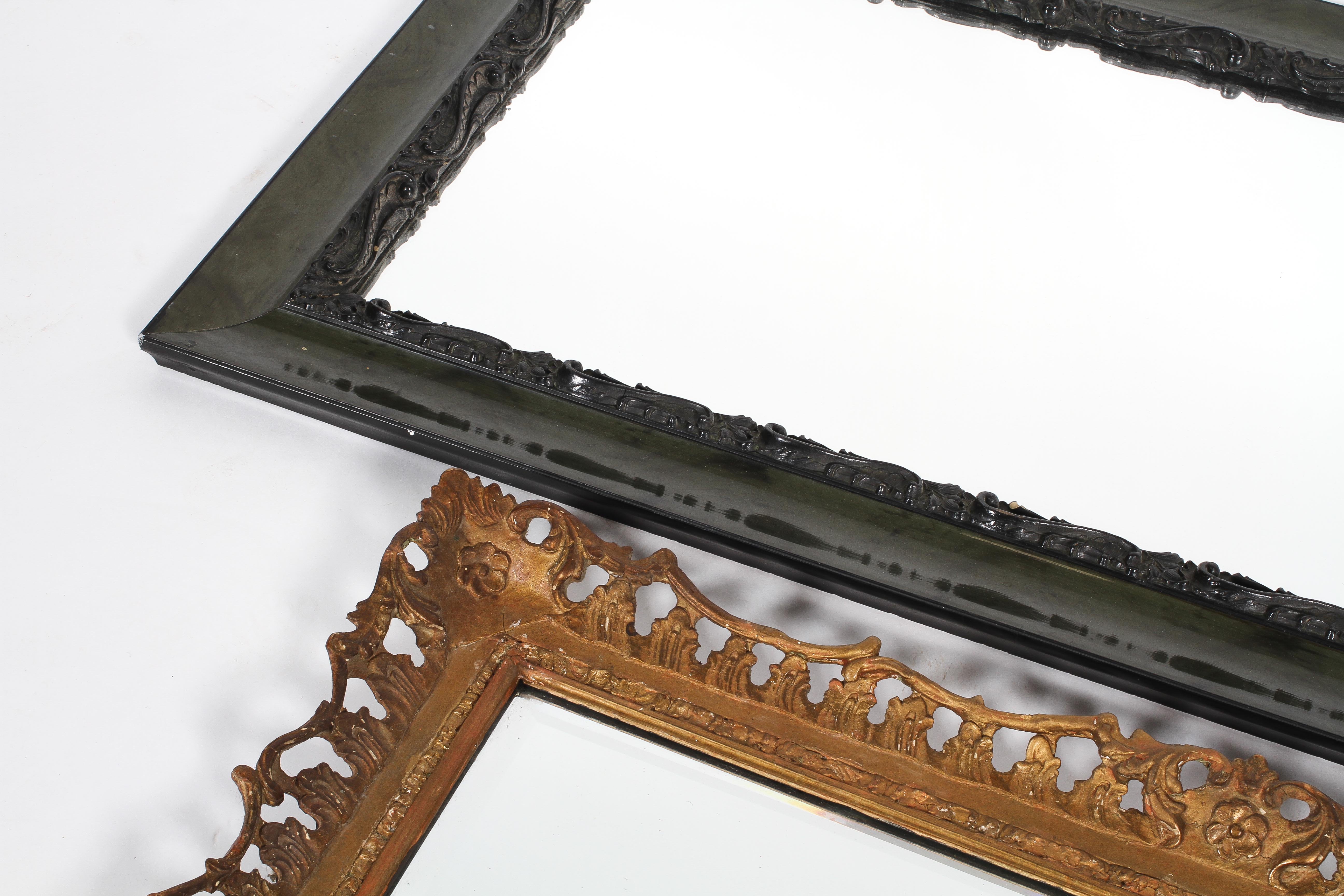 A giltwood and gesso mirror frame, together with an ebonised and carved wood dressing mirror, - Image 2 of 2