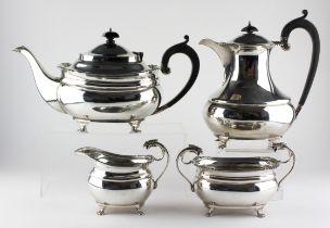 An Edward VII four piece silver tea set,