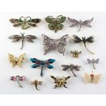 A collection of fifteen costume brooches depicting butterflies, moths, dragon flies, insects.
